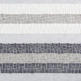Zander - Silver - Several different shades of grey making up a striped blended fabric covered with a crazy paving style design