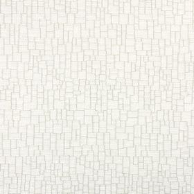 Zane - Ivory - Chalk white coloured polyester, acrylic and viscose blend fabric covered with a crazy paving style pattern