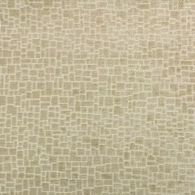 Zane - Oatmeal - Light gold coloured crazy paving patterned fabric made from a mix of polyester, acrylic and viscose