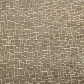 Zane - Havana - Crazy paving style patterning covering fabric made from polyester, acrylic and viscose in dark brown and light cream