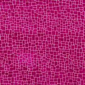 Zane - Magenta - Shocking pink coloured polyester, acrylic and viscose blend fabric, featuring a crazy paving style pattern over the top