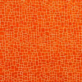 Zane - Tangerine - Fabric made from bright orange coloured polyester, acrylic and viscose, featuring a crazy paving style pattern on top