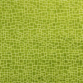 Zane - Lichen - A crazy paving style pattern covering fabric made from polyester, acrylic and viscose in bright lime green