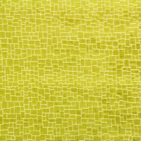 Zane - Evergreen - Bright citrus coloured fabric covered with a crazy paving style design, made from a mix of polyester, acrylic and viscose