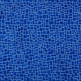 Zane - Cobalt - Royal blue coloured crazy paving style fabric made from a blend of polyester, acrylic and viscose