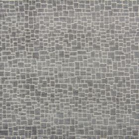 Zane - Silver - Grey and white coloured polyester, acrylic and viscose blend fabric, featuring a crazy paving style design