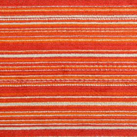 Enzo - Tangerine - Slightly textured horizontal stripes in cream and very bright shades of orange on fabric made from various materials