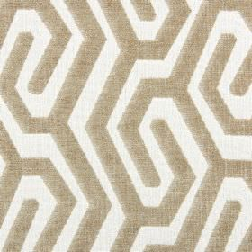 Maddox - Oatmeal - A simple maze-like design created by white and biscuit coloured lines on fabric made from polyester, acrylic and viscose