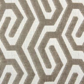 Maddox - Havana - Dark brown and white polyester, acrylic and viscose blend fabric patterned with lines creating a simple maze-like design