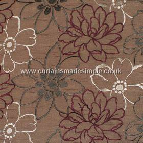 Prairie - Mushroom - Brown satin fabric with embroidered grey silver and red overlapping flowers