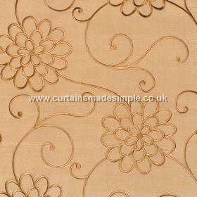 Coyote - Antique & Gold - Gold satin fabric with gold embroidered flower trail