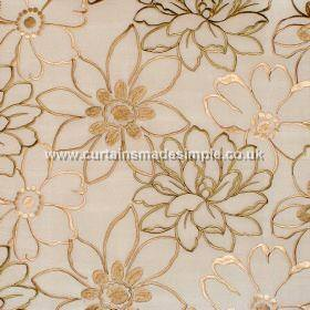 Prairie - Champagne - Cream satin fabric with overlapping embroidered brown bronze and gold flowers