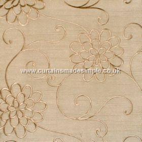 Coyote - Linen - Beige satin fabric with beige embroidered flower trail