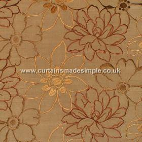 Prairie - Antique and#38; Gold - Dark gold satin fabric with overlapping embroidered red bronze and gold flowers