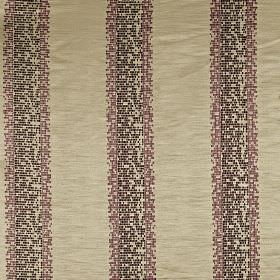 Herd - Berry - Pale grey 100% polyester fabric patterned with pixellated vertical stripes in dark shades of purple and grey