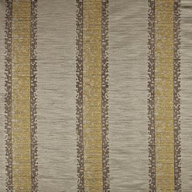Herd - Sand - 100% polyester fabric made in pale grey, printed with dark grey and golden yellow coloured pixellated vertical stripes