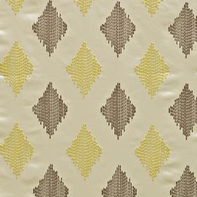 Impala - Cactus - Diamonds made up of dotted vertical lines in dark grey and golden yellow, on ivory coloured 100% polyester fabric