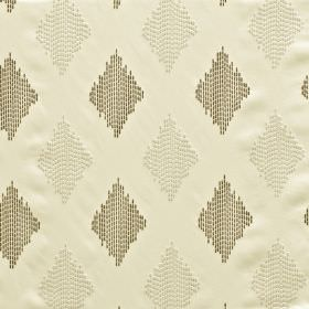Impala - Ivory - Three different shades of grey making up a pattern of diamonds made up of dotted vertical lines on 100% polyester fabric