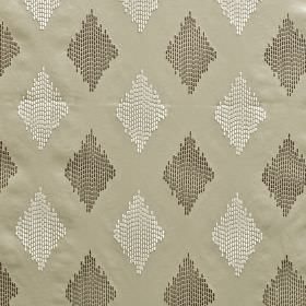 Impala - Parchment - Chrome coloured fabric made from 100% polyester, with diamonds made up of dotted vertical lines in whiteand dark grey