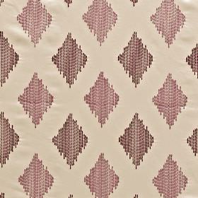 Impala - Berry - Fabric made from 100% polyester, featuring rows of diamonds made up of dotted vertical lines in three pink-purple shades