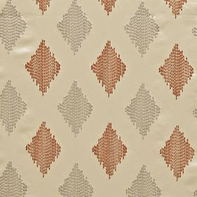 Impala - Tiger - Pale cream 100% polyester fabric, with diamonds made up of dotted vertical lines in terracotta and light grey colours