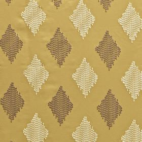 Impala - Sand - Cream and dark brown coloured diamonds made up of dotted vertical lines on a rich gold 100% polyester fabric background