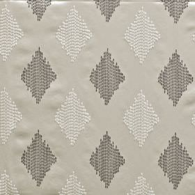Impala - Dove - White and two different shades of grey colouring 100% polyester fabric with diamonds made up of dotted vertical lines