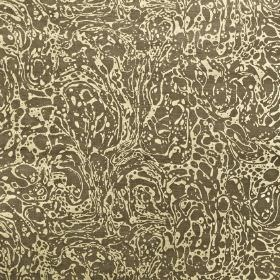 Lake - Sand - Viscose and cotton blend fabric covered with a marble effect pattern in cream and dark brown