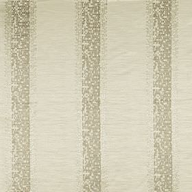 Pride - Ivory - 100% polyester fabric featuring a pixellated vertical stripe design in putty, pale grey and dove grey colours