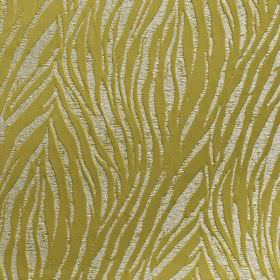 Tiger - Cactus - Roughly printed animal stripe style patterns covering 100% polyester fabric in silvery white and golden green