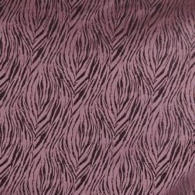 Tiger - Berry - Lavender and black coloured 100% polyester fabric, patterned with a roughly printed animal stripe style design