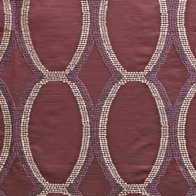 Tribal - Berry - Purple, aubergine & white polyester & viscose blend fabric, featuring a pattern of scalloped lines made up of tiny dots