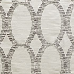 Tribe - Dove - Polyester and viscose blend fabric with scalloped lines made up of tiny dots in three different light shades of grey