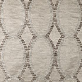 Tribe - Savanna - Tiny dots making up a pattern of scalloped lines on polyester and viscose blend fabric in three light shades of grey