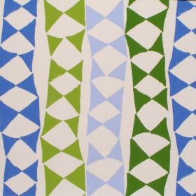 Zuba - Green - Modern green bands with bowtie shapes on white fabric