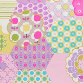 Patchwork - Candy - Patchwork childrens fabric with floral and spotted patterns in pink green and purple