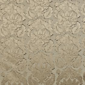 Chinaz - Taupe - Very subtly, ornate patterns on pewter coloured polyester and cotton blend fabric