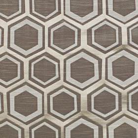 Navoi - Taupe - Charcoal, silver and pale grey coloured hexagons and geometric shapes patterning polyester and cotton blend fabric