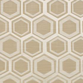 Navoi - Champagne - Polyester and cotton blend fabric printed with hexagons and geometric shapes in white,beige and pale grey