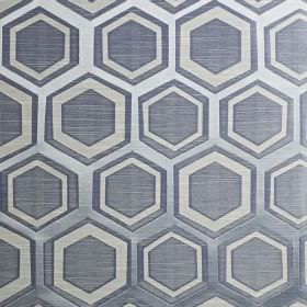 Navoi - Sky - Hexagons and geometric shape patterned fabric made inthree silvery blue shades from a blend of polyester and cotton