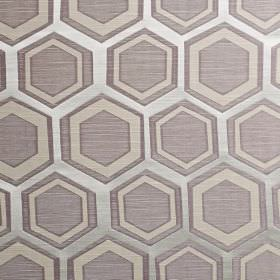 Navoi - Lavender - Three silver and grey shades making up a hexagon and geometric shape pattern on fabric made from polyester and cotton