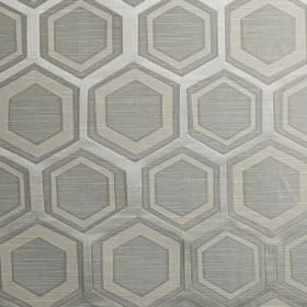 Navoi - Silver - Fabric made from polyester and cotton, with a simple hexagon and geometric shape pattern in three blue-grey shades