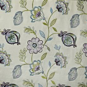 Flamenco - Topaz - Classic shades of blue and green making up a pretty, detailed floral pattern on white cotton, viscose and polyester fabric