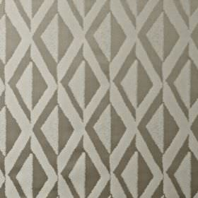Jive - Sandstone - 100% polyester fabric featuring rows of simple, stylish diamonds made in iron grey and light cloud grey colours