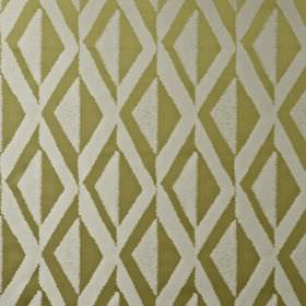 Jive - Jacquard - Stylish khaki and light silver-grey coloured, diamond patterned fabric made from 100% polyester