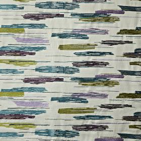 Salsa - Topaz - Dark purple, marine blue & olive green coloured streaks sweeping over off-white cotton, viscose & polyester blend fabric