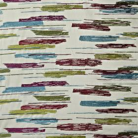 Salsa - Orchid - Streaky patterns covering cotton, viscose and polyester fabric made in off-white, dark purple, sky blue and grass green