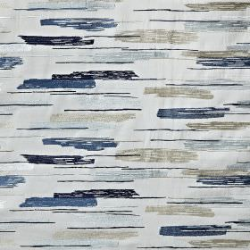 Salsa - Colonial - Streakily patterned fabric made in classic light and dark blue and grey shades from a blend of cotton, viscose and polyester