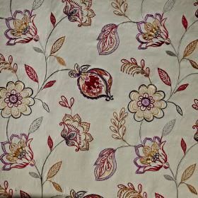 Flamenco - Spice - Very pale grey cotton, viscose and polyester blend fabric with a detailed cream, grey, purple and burgundy floral pattern