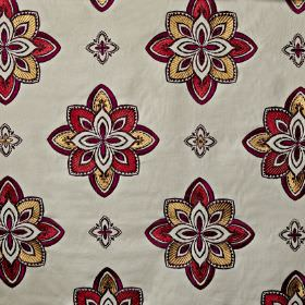 Tango - Spice - Luxurious gold, dark red and off-white making up an elegant stylised floral pattern on cotton, viscose and polyester fabric